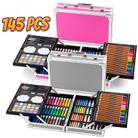 145pc Artists Aluminium Art Case Colouring Pencils Painting Set Childrens/Adults
