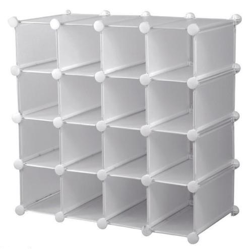 HEAVY DUTY INTERLOCKING 16 PAIRS CUBE SHOE ORGANIZER RACK STORAGE DISPLAY STAND