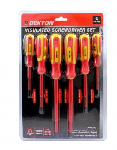 6pc Screwdriver Set DIY Professional Flat Phillips Anti-slip Insulated Magnetic