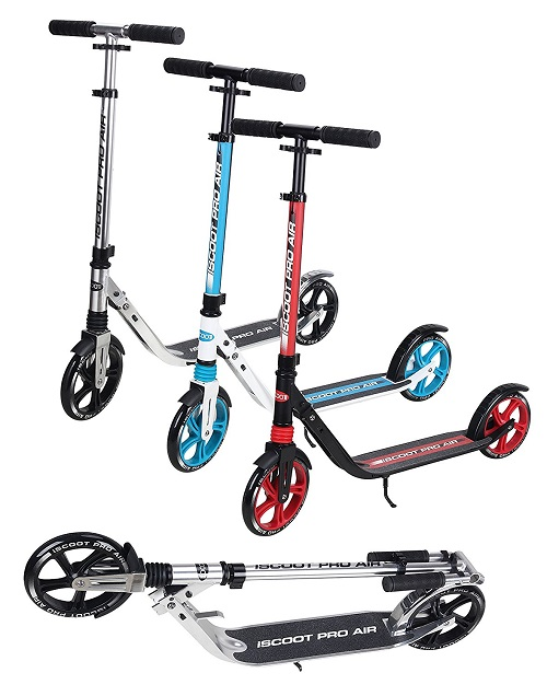 Ultimate iScoot© Air Black / Red Light Weight Adult City Push Kick Scooter with Large 200MM Wheels, City Comfort Suspension, Kick Stand, Mud / Rain Guards and Folding Frame with Carry Stray - Easy to Carry Light Weight Aluminium Kickboard