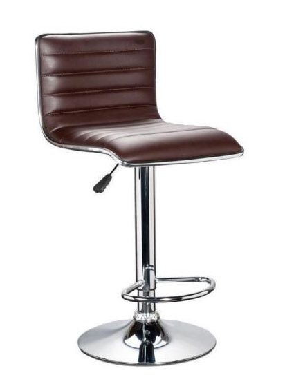 Brown PU Leather 360 Degree Swivel Breakfast Kitchen Bar Chair Stool Gas Lift