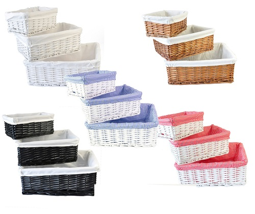 Wicker Storage Basket/Hamper With Lining In Small/Medium/Large Perfect Gift NEW