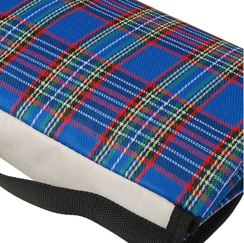 Blue Extra Large Tartan Picnic Blanket with Waterproof Backing