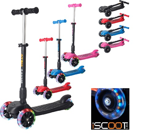 iScoot Blaze Scooter Tilt Kickboard T-Bar 3 Wheel Kick Board Folding Light