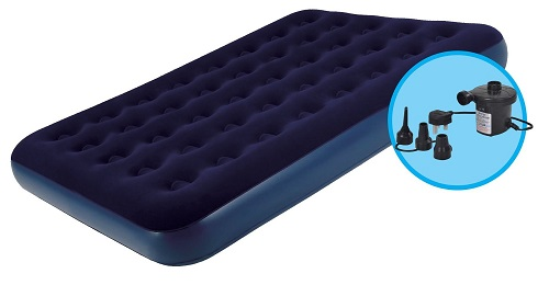 Extra Comfort Double Flocked Inflatable Air Bed With Pump