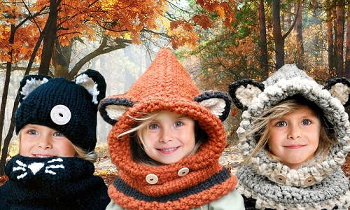 Animal Knitted Hat and Scarf Sets