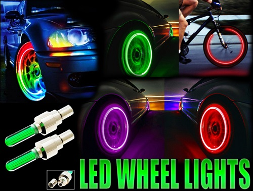 2 PCS FLASHING NEON LED LIGHT WHEEL VALVE CAP TYRE LIGHTS CAR MOTORCYCLE BIKE BICYCLE