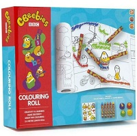 Cbeebies Colouring Roll Set & Markers Sticker Sheet Crayons Paper Weights Kids