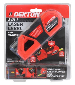 Dekton 3 In 1 Laser Level And Measure Spirit Level Laser Pointer Tape Measure