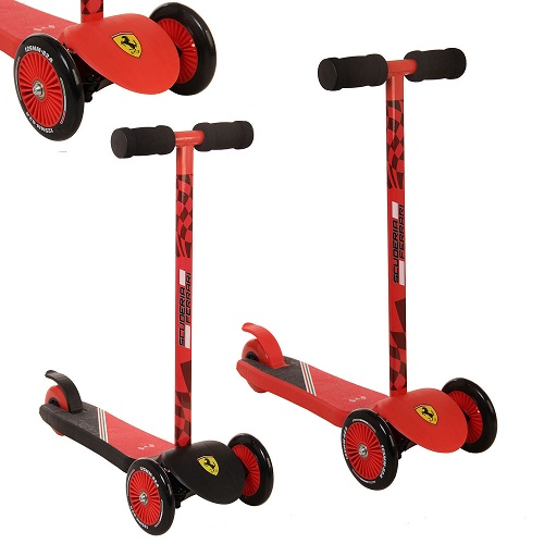 Official Ferrari Red / Black Mini Push Scooter Twist n Turn Three Wheel Tilt