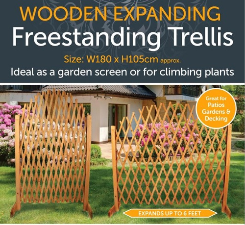 Wooden Expanding Trellis - For Garden Screen or Climbing Plants