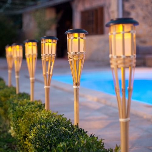 2 x LED Solar Powered Outdoor Bamboo Torch Garden Border Stake Patio Path Light