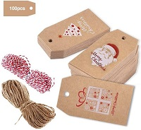 100 Pack Christmas Gift Tags with Jute Twine