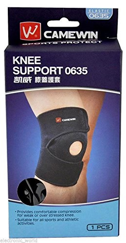 Camewin© Professional Neoprene Patella Black Elastic Knee Brace Fastener Support Guard Gym Sport