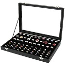 100 Ring Jewellery Display Storage Box Tray Case Organiser - Black