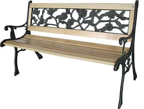 Rose style 3 Seater Outdoor Wooden Garden Bench Chair Seat Cast Iron Legs Park Furniture