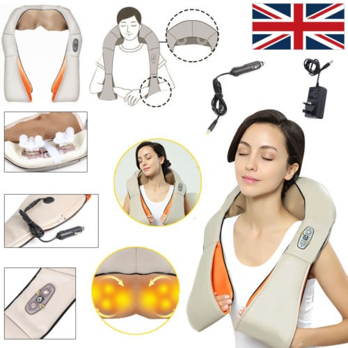 Electric Heat Shiatsu Kneading Neck Shoulder Body Massager Relax Health Care