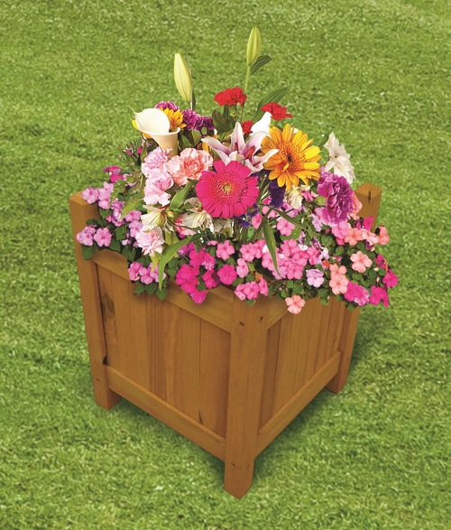 SQUARE -Small Wooden Garden Planters Outdoor Plants Flowers Pot