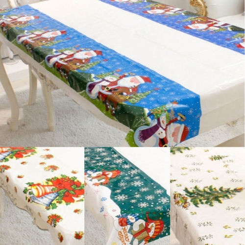 Christmas Themed Table Cloths PVC Easy Wipe Clean Tablecloth Xmas Party Cover