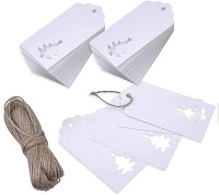 100 Pack White Christmas Gift Tags with Jute Twine