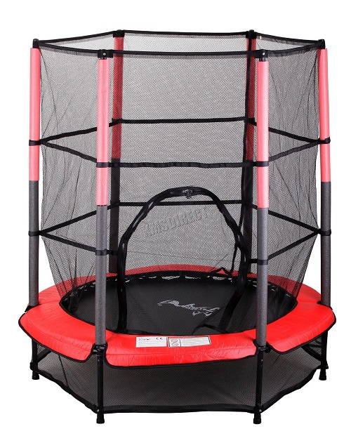 FoxHunter Junior Trampoline With Enclosure Safety Net Kids Child Red 4.5FT 55""