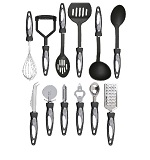 12 Piece Cooking Utensil Set Stainless Steel Kitchen Gadget Tool Nylon Handles